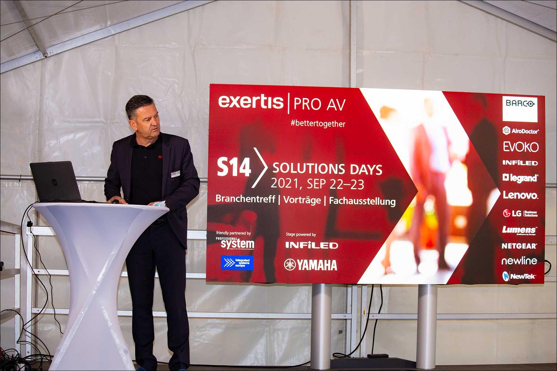 Rainer Sprinzl von exertis Pro AV bei der Eröffnung der S14 Solution Days 2021 (Foto: Tom Becker)